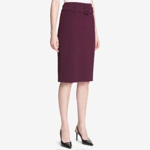 Calvin Klein Belted Plum High-Waist Pencil Skirt